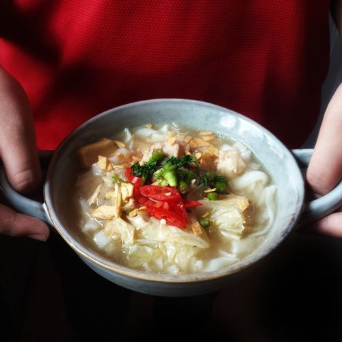 Midsection of person holding food in bowl