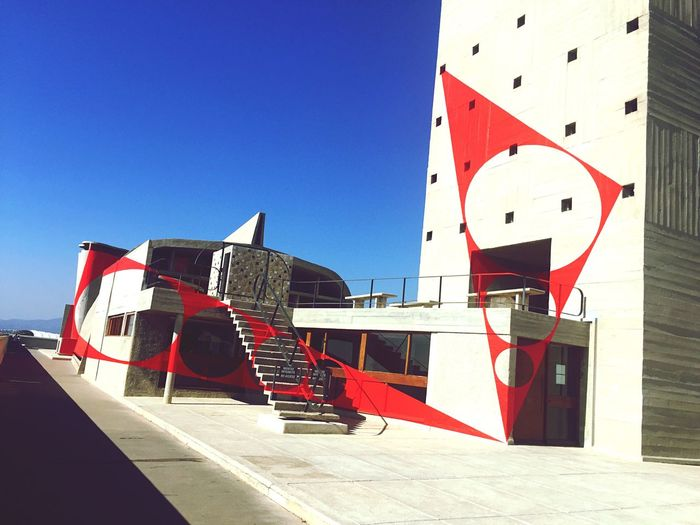 My Favorite Place Lecorbusier Citeradieuse Marseille La Belle Marseille France Clear Sky Sunlight Blue Ocean Outdoors Day Group Of Objects Sea Summer Tranquility Red Tranquil Scene (null)Art Architecture