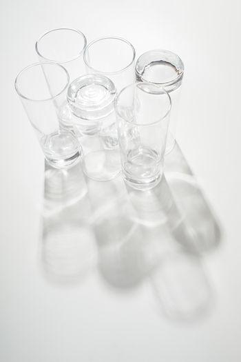 Still Life White Background Glass - Material Glass Close-up Drinking Glass Household Equipment Clean Empty Group Of Objects Reflection Transparent