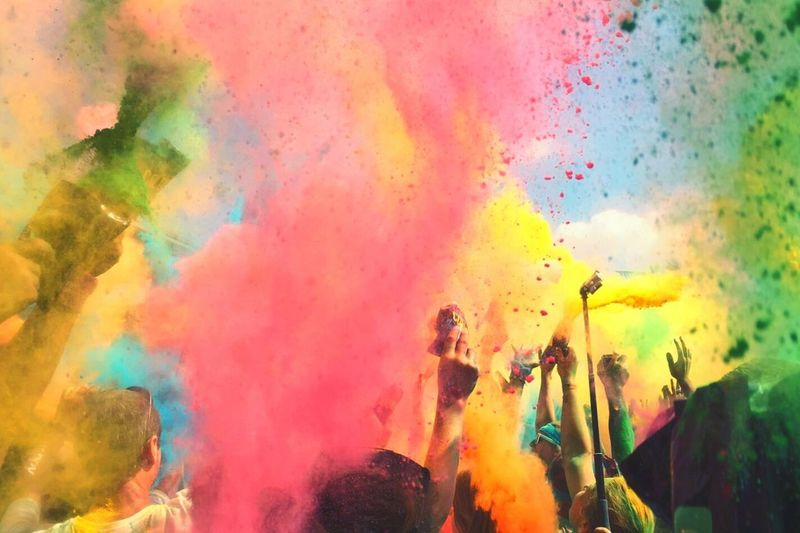 Holi Multi Colored Celebration Crowd Motion Traditional Festival Togetherness People Powder Paint Outdoors Talcum Powder Cultures Holi Colour Festival Holi Colors Holi Colours Festival Holi Colours Holi Color Holi Celebration Color Splash Color Explosion Up In The Air Happy People Happiness Fun Many Colors