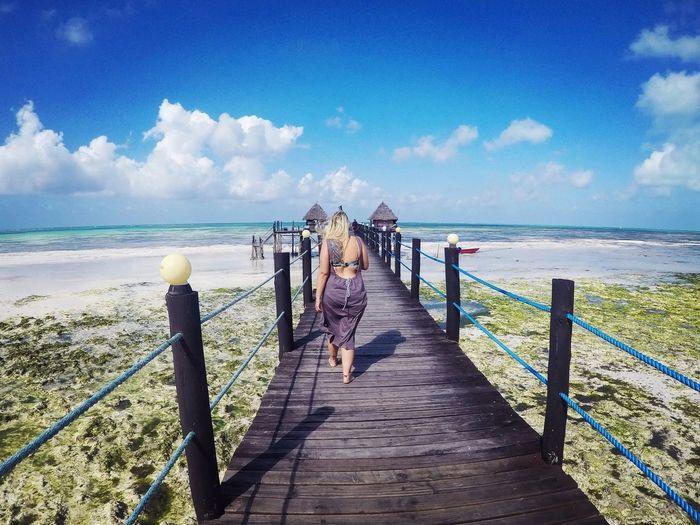 Openback Dress Cloud Symmetry Woman Girl Beachlife Zanzibar Beauty Kardashian Water Sea Beach Sand Full Length Summer Railing Sky Horizon Over Water Cloud - Sky Pier Shore Wave Sandy Beach Tide Ocean