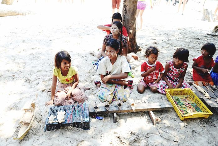 Moken village in Thailand Boys Friendship Girls Childhood Elementary Age Children Only Lifestyles Leisure Activity Fun Outdoors Togetherness Weekend Activities Community People Playing Day Nature Junior High