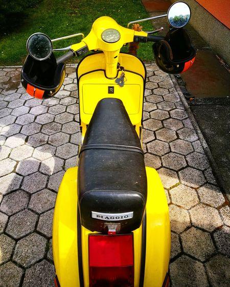 One and only 🐝 Fun Joyride Ride Vespa Vespavintage Vespalovers Vespatrip Yellow Yellow Color Colorful Scooter