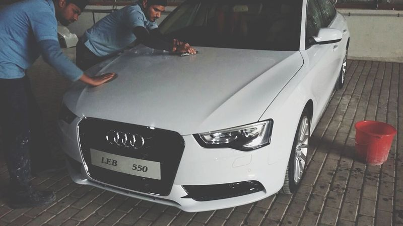 Polishing Audi A5 Pearl White Fashion Cars Lover NewYear Real People Squad One Compound Good Day Friday Only Men One Man Only Adult Adults Only Indoors  Car People Transportation Land Vehicle