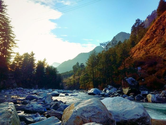 The heaven is under our feet as well as over our heads. Kasol Nature Outdoors Beauty In Nature Landscape Sky Tree Travel Photography India Travel Destinations Scenery Mountains River