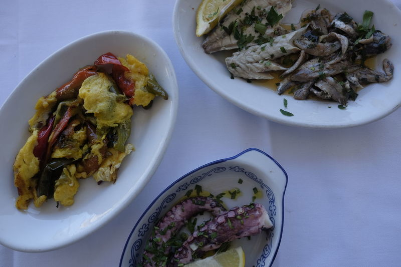 dishes with sea food Close-up Day Food Food And Drink Freshness Healthy Eating High Angle View Indoors  Marinated No People Octopus Plate Ready-to-eat Serving Size