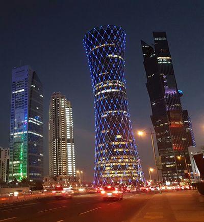 Night Skyscraper Illuminated Architecture Building Exterior No People Modern Travel Destinations Sky Urban Skyline Outdoors City Cityscape Doha,Qatar