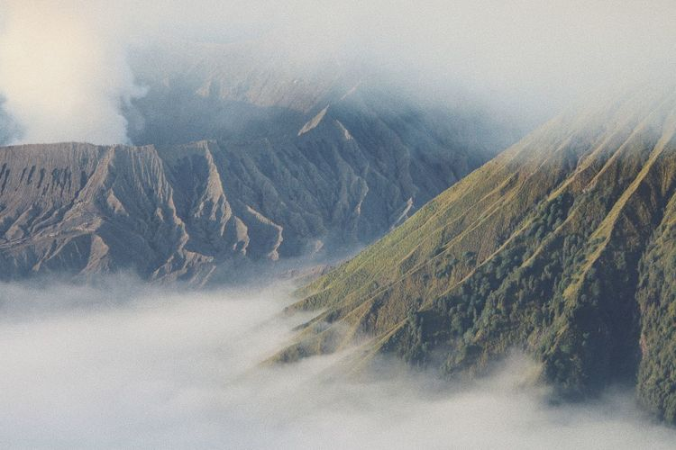 Beauty In Nature Day Fog Landscape Mount Bromo Mountain Nature No People Outdoors Scenics Sky
