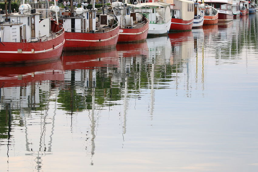 Fisherboats  Nautical Vessel Outdoors Pink Color Red Reflection Water Waterfront Wharfside