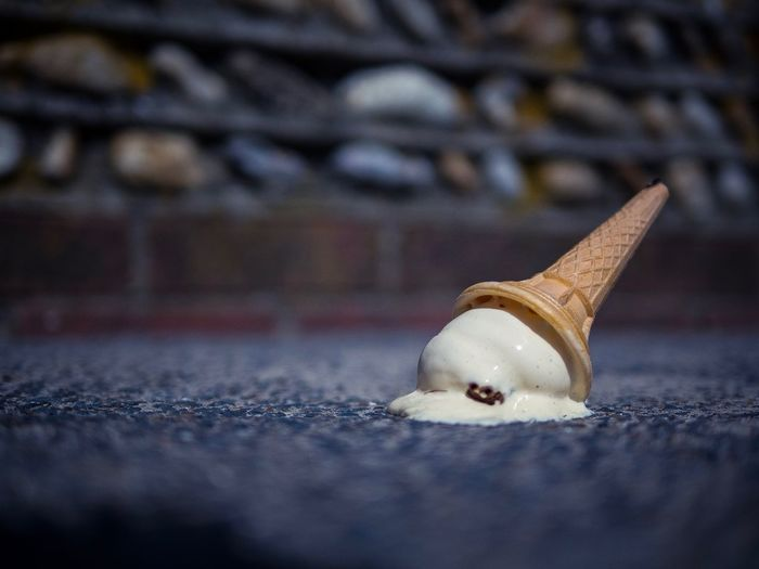 Oops Brick Wall Blur Bokeh Dropped Ice Cream Oops Shallow Depth Of Field Ice Cream No People Close-up Selective Focus