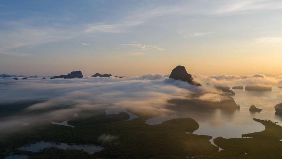 View of phang nga bay from samet nangshe viewpoint at sunrise thailand