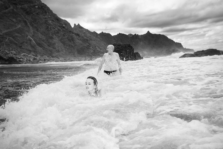 Whirlpool Black And White Tenerife Cloudy Shore Coast Mountains Swimming Girl Father Waves Water Storm Hurricane - Storm Linas Was Here 50 Ways Of Seeing: Gratitude