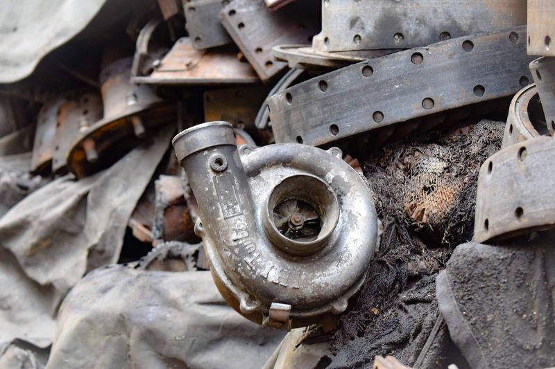 Close-up of abandoned vehicle part