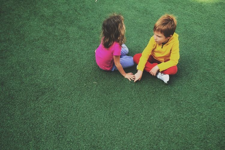 VSCO Candid Love Childhood Grass Green Color Child Full Length Leisure Activity High Angle View Togetherness Casual Clothing Playing Innocence The Street Photographer - 2018 EyeEm Awards 50 Ways Of Seeing: Gratitude #NotYourCliche Love Letter
