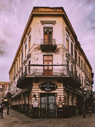Romania Travel Vintage Photo Vintage Bucharest Architecture Building Exterior Built Structure Sky Outdoors Façade Cloud - Sky Day Low Angle View City Real People Awning