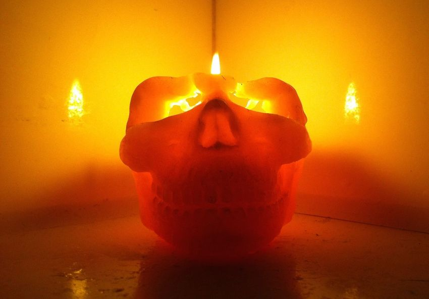 Burning Candle Close-up Flame Heat - Temperature Illuminated No People Orange Color Skull