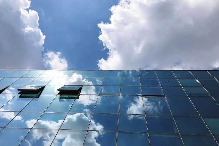 Cloud - Sky Outdoors Architecture Building Exterior Low Angle View Blue Window Warsaw Reflection First Eyeem Photo