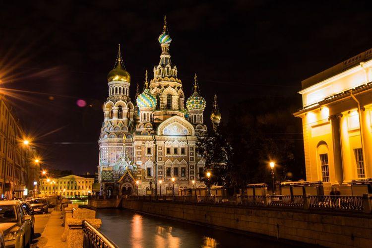 Ночной Санкт - Петербург Spb Spas Na Krovi Architecture Night Building Exterior Built Structure Illuminated Place Of Worship Religion