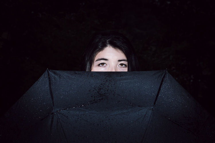Hiding Asian  Dark Adult Close-up Eyes Front View Headshot Human Body Part Human Eye Looking At Camera One Person One Young Woman Only Outdoors People Portrait Real People Umbrella Women Young Adult Young Women The Week On EyeEm AI Now Visual Creativity My Best Photo