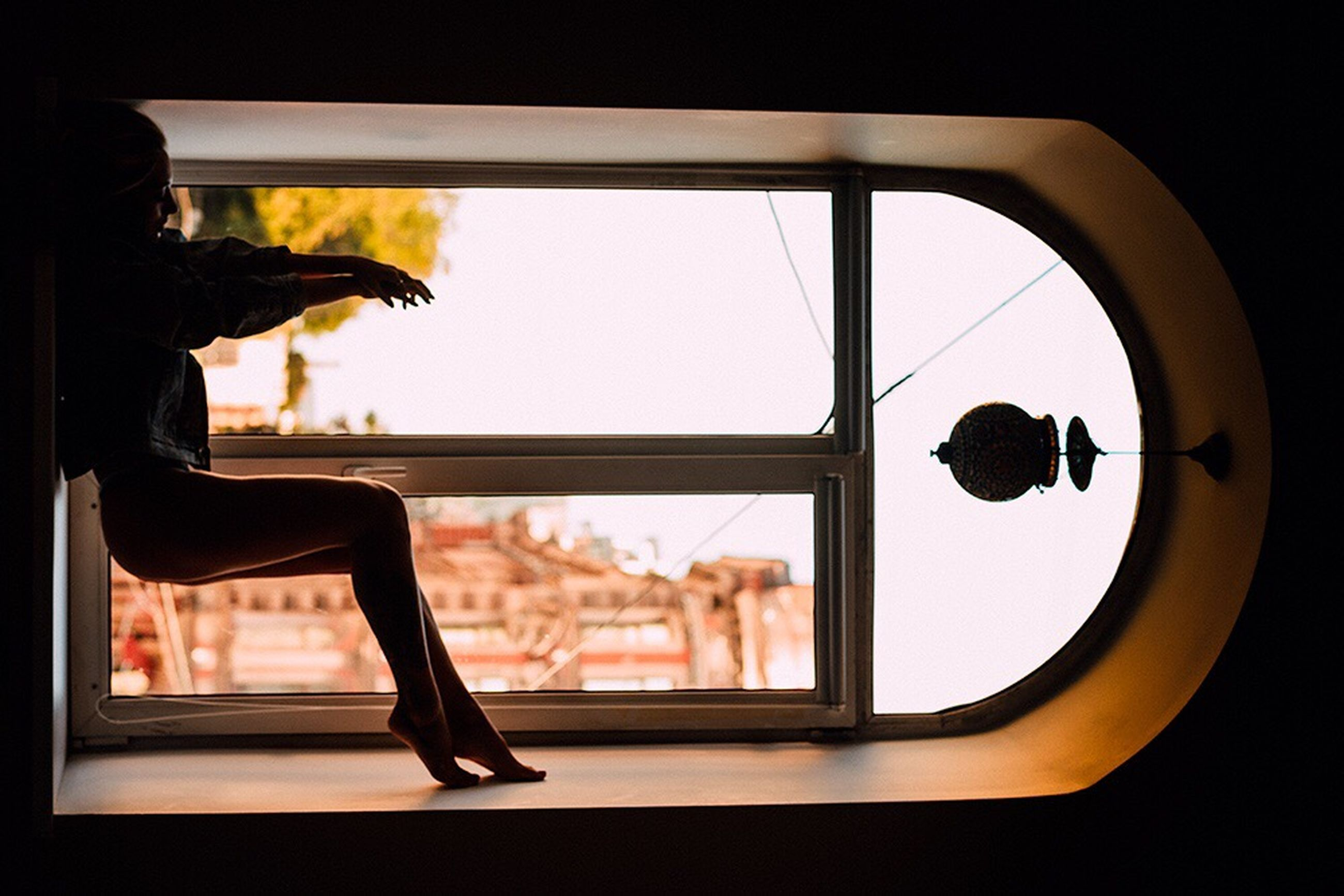 window, indoors, silhouette, looking through window, one person, real people, reflection, day, women, close-up, sky, people
