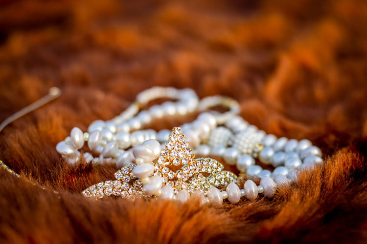 Close-Up Of Tiara And Pearl Necklace On Brown Fur