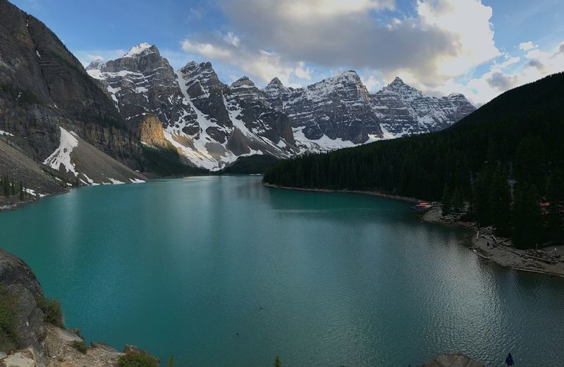 Panoramic EyeEm Nature Lover Alberta Canada Moraine Lake  Banff National Park  Rocky Mountains Spring EyeEm Selects Mountain Scenics - Nature Sky Water Beauty In Nature Cloud - Sky Mountain Range Tranquil Scene Tranquility Lake Nature Day Non-urban Scene Snow Tree Idyllic No People Outdoors The Great Outdoors - 2018 EyeEm Awards