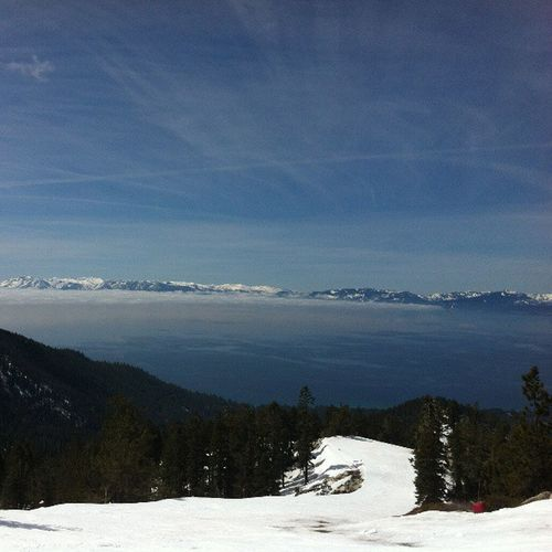 The view was worth murdering my thighs to get back down. Pretty spectacular up there. Spectacular Diamondpeak Lake Tahoe laketahoe piste ski skiing slope snow sky cielo mountains forest sierranevada nevada vacation holiday
