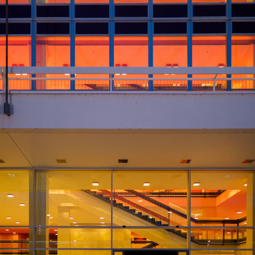 Dresden Concert Hall at Night Illuminated Architecture Orange Color Built Structure Night No People Lighting Equipment Transportation Building Exterior City Outdoors Yellow Modern Dusk Road Railing Ceiling Concert Hall  Symmetry Stairs Staircase