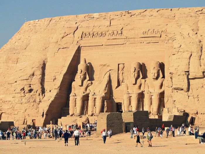 Tourists at great temple of ramesses
