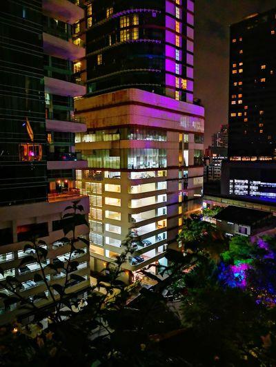 City Neon Cityscape Illuminated Skyscraper Nightlife Modern Multi Colored Architecture Building Exterior