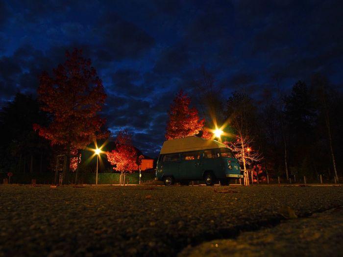 Camper Camper Van Clouds And Sky Dusk Illuminated Nature Night No People Outdoors Sky Streetlights Tree Twilight