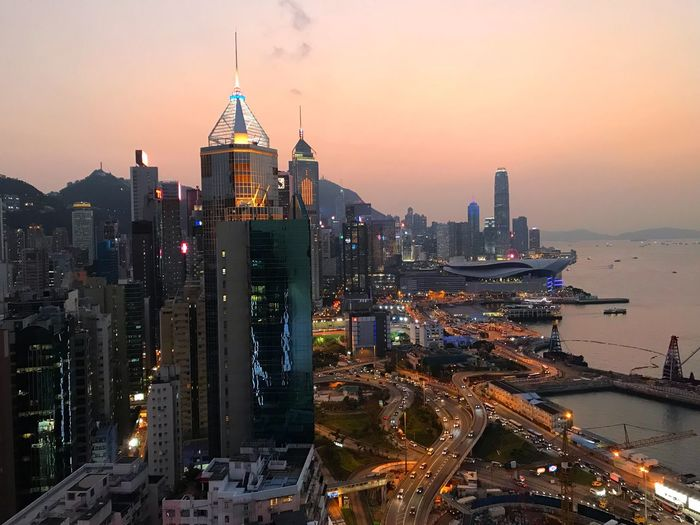 Dusk over Hong Kong Hong Kong Dusk Building Exterior Architecture Built Structure City Building Office Building Exterior Illuminated Skyscraper Cityscape Travel Destinations Downtown District Financial District  Modern Tall - High Sky Urban Skyline City Life
