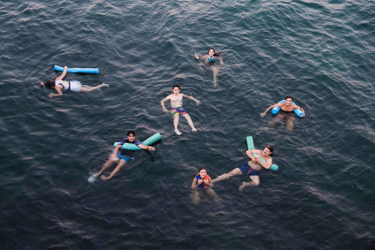 high angle view, medium group of people, summer, togetherness, water