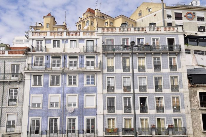 Apartment Architecture Balcony Building Building Exterior Capital Capital Cities  City City Façade Glass - Material Holiday Lisboa Lisbon No People Portugal Residential Building Residential Structure Side By Side Sky The Week On Eyem Tile Traditional Typical Window