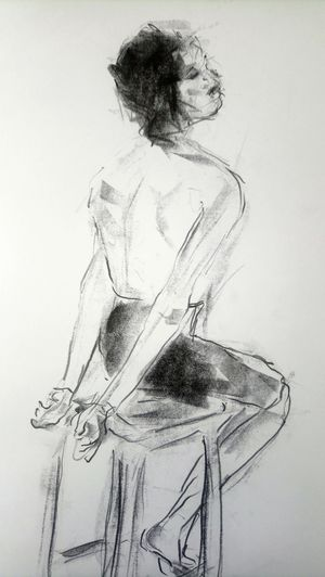 Rear view of woman with arms hair