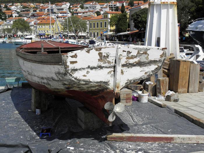 Adriatic Coast Adriatic Sea Croatia Europe Selce Day Holidays Nautical Vessel No People Old Vessel Outdoors Repair Repairing Docks Riviera Rusty Summer Tourism Destination Transportation Vacations