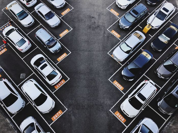 Landscape In A Row Minimalism Full Frame Close-up No People Technology Day Parking Lot Parking Car Cars