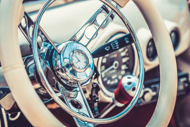Close-up of vintage car steering wheel