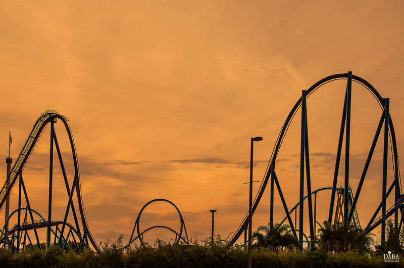 EyeEm Best Shots EyeEm Gallery EyeEmNewHere Architecture Metal Nature No People Orange Color Outdoors Rollercoaster Silhouette Sky Sunset This Is Family