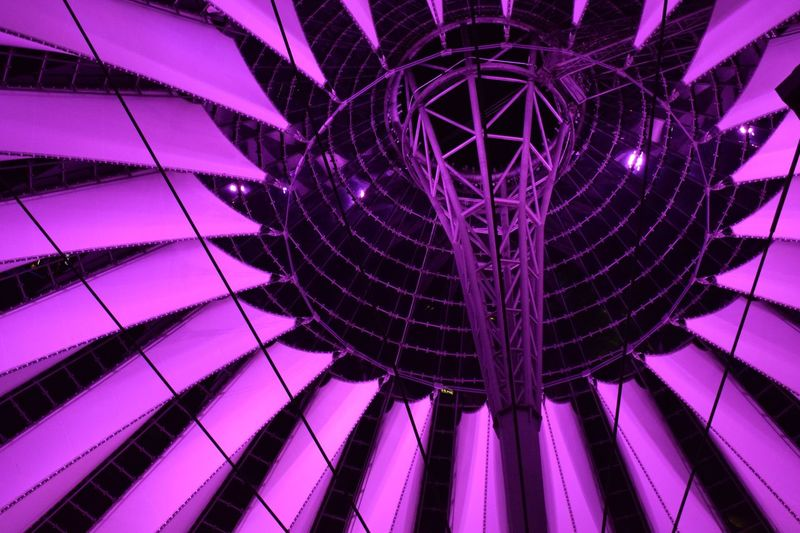 Berlin Sony Center Low Angle View No People Night Decoration Hanging Illuminated Arts Culture And Entertainment Architecture Nightlife Pink Color