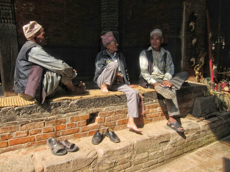 Nepali  Men Newari Chatting Leisure Culture Lifestyle Traditional Clothing Bhaktapur Rural Scenes Miles Away Kathmandu Nepal People Together People And Places Way Of Life Unesco World Heritage