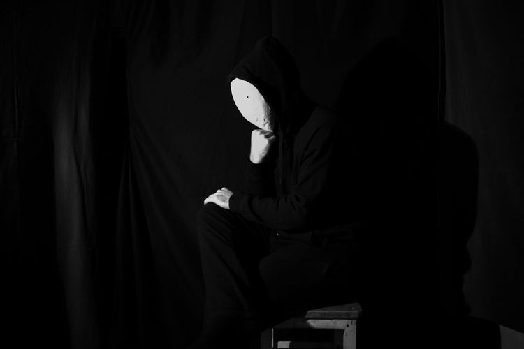 Side view of person wearing mask