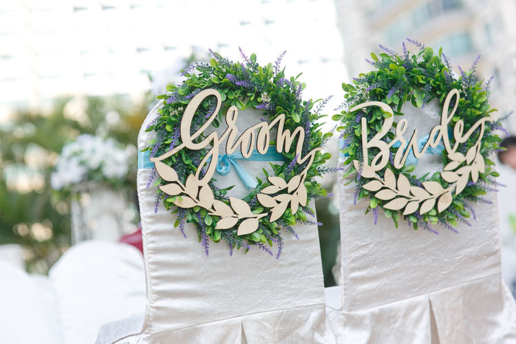 Wedding decoration Wedding Decoration Asian  Bride Groom Ceremony Chair Outdoors Couple Close-up Wedding Ceremony Newlywed Wedding Vows Bridegroom Bridesmaid