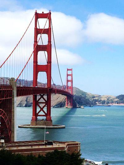 Golden Gate Bridge Over Sea Against Sky In City