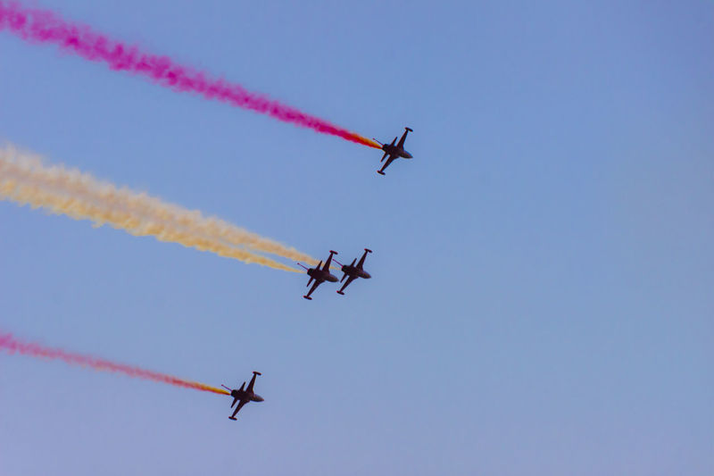 Turkish acrobatic aviation squadron flying over Izmir (Turkey) Backlight Freedom Izmir Turkey Acrobacy Acrobatic Air Vehicle Airplane Airshow Anniversary Aviation Blue Fighter Plane Flying Military Airplane No People Performance Speed Sunset Teamwork Transportation Turkish