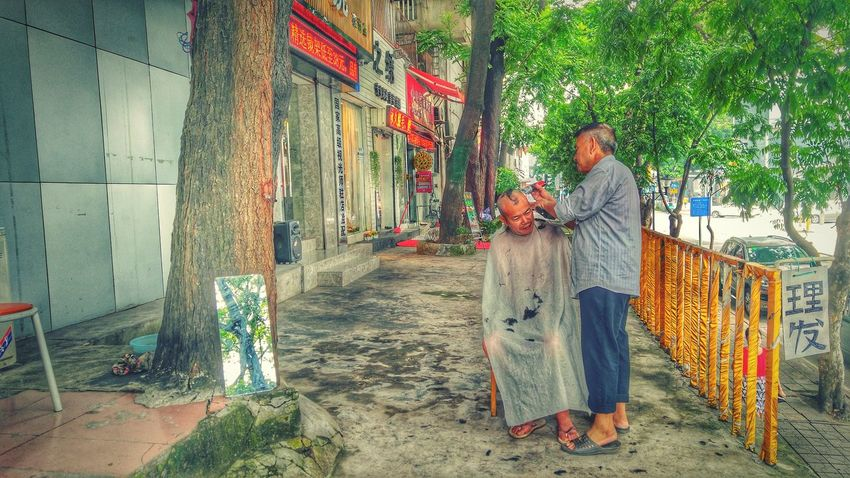 Architecture Built Structure Building Exterior Togetherness Person Narrow Day Outdoors Footpath Culture Haircut Streetphotography Barber Street Shenzhen China