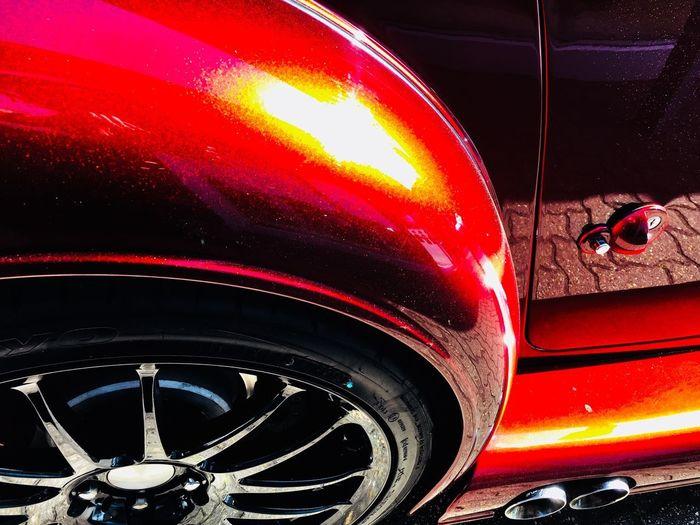 Metallic red paint Binnie Bell & Colvill Retro Car Vintage Cars Classic Car Morgan Aero 8 Metal Chrome Car Detail Chrome Mettalic Motor Vehicle Mode Of Transportation Transportation Land Vehicle Car Night No People Wheel Glass - Material Red Close-up