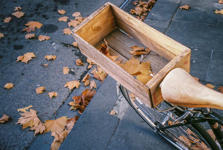 High angle view of wooden box on bicycle during autumn