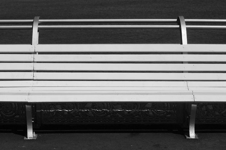 Edge Of The Pier Southsea Pier Absence Bench Blackandwhite Day Empty Metal No People Outdoors Pattern Railing Seat Sunlight