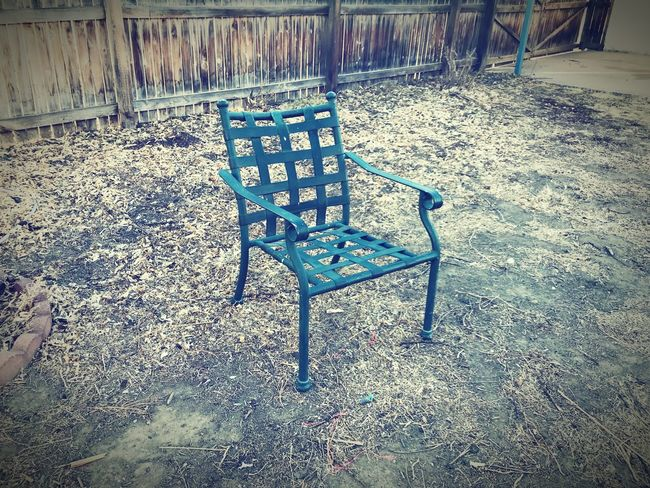 Fence Dirt Chair Absence Day Outdoors No People Abandoned Nature Grass
